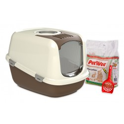 PeeWee litter box EcoDome brown